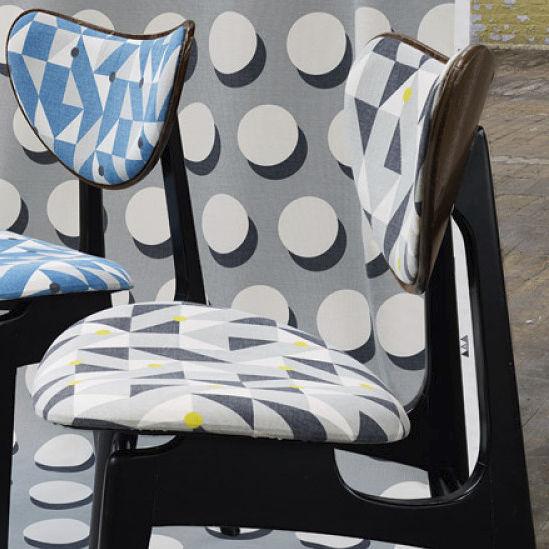 tissu dameublement pour rideaux motif gomtrique en coton atom puzzle