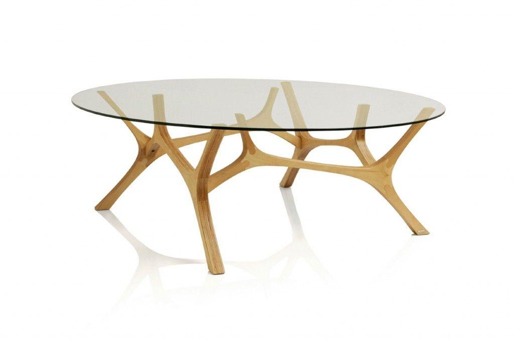 Table Basse Design Original En Verre En Chêne En Bouleau