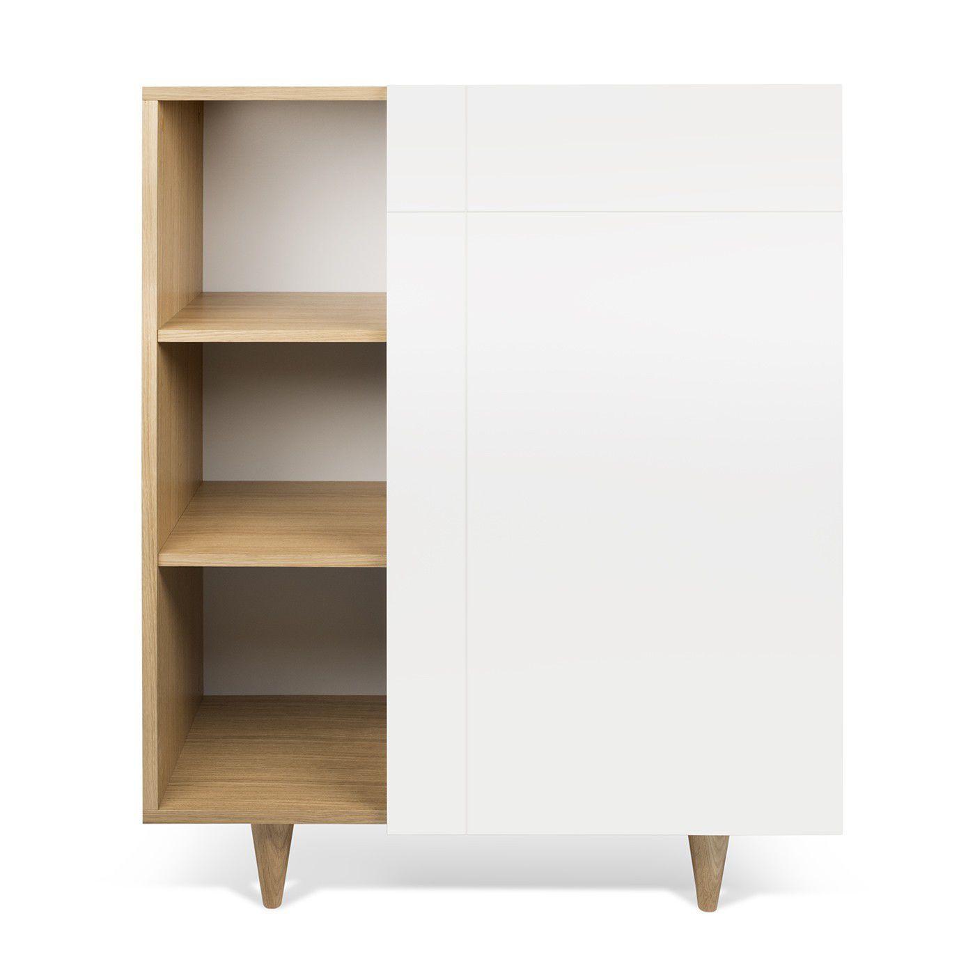Buffet haut contemporain en bois laqué blanc CRUZ by