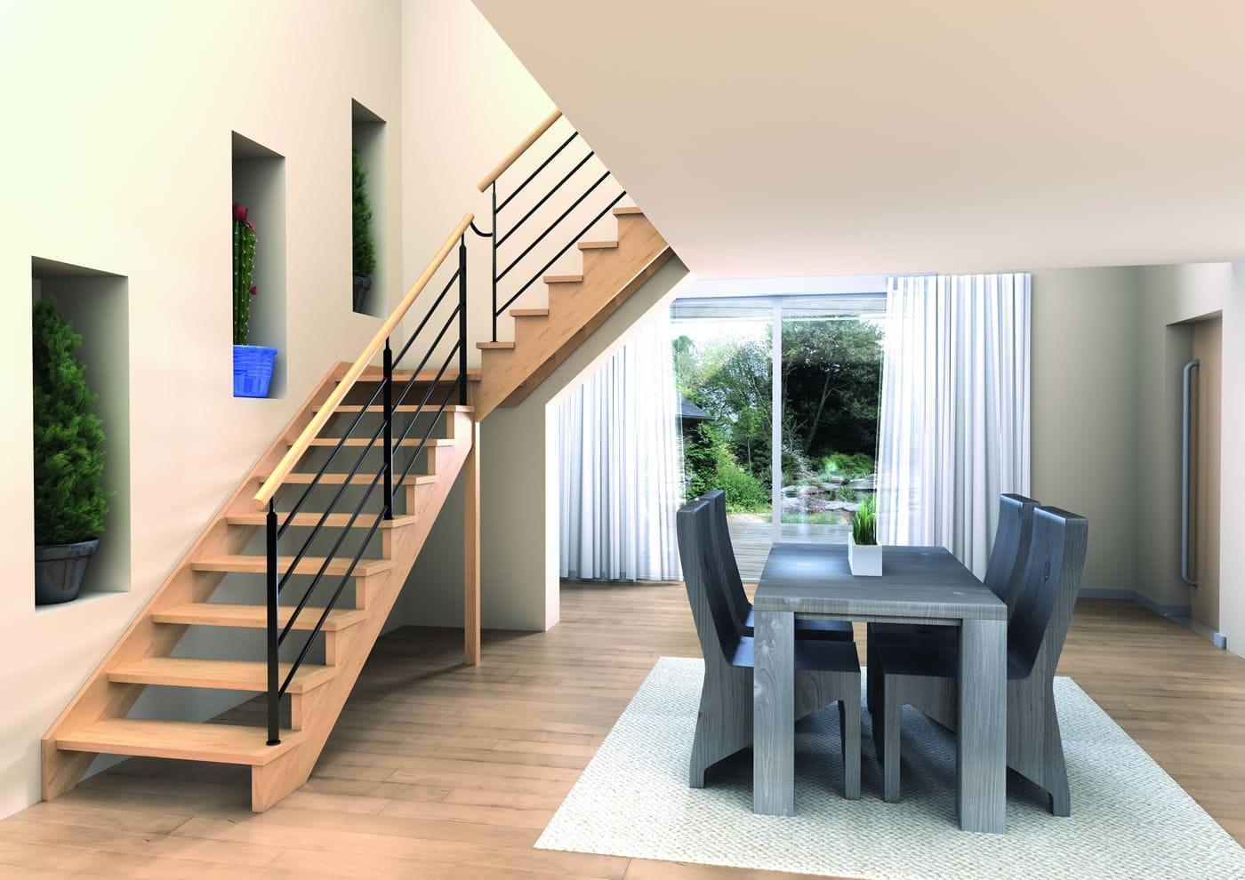 escalier droit bois sans contremarche