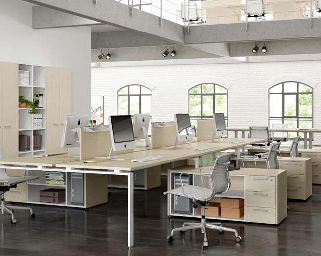 Fabuleux Bureau pour open space / en bois / en métal / contemporain - FUJI  FI34