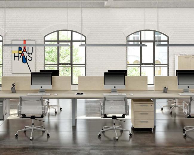 Bureau pour open space en bois en métal contemporain fuji