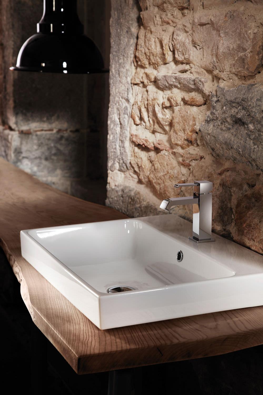 Vasque à encastrer / rectangulaire / en céramique / contemporaine ...