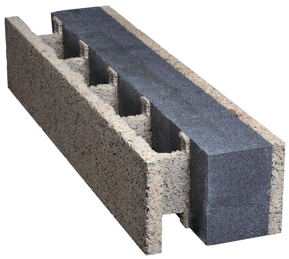 bloc coffrant en béton de bois / pour mur extérieur porteur