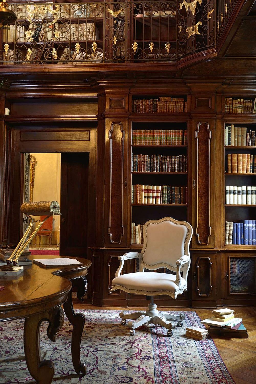 Fauteuil de bureau classique / en bois massif / pivotant / à ...