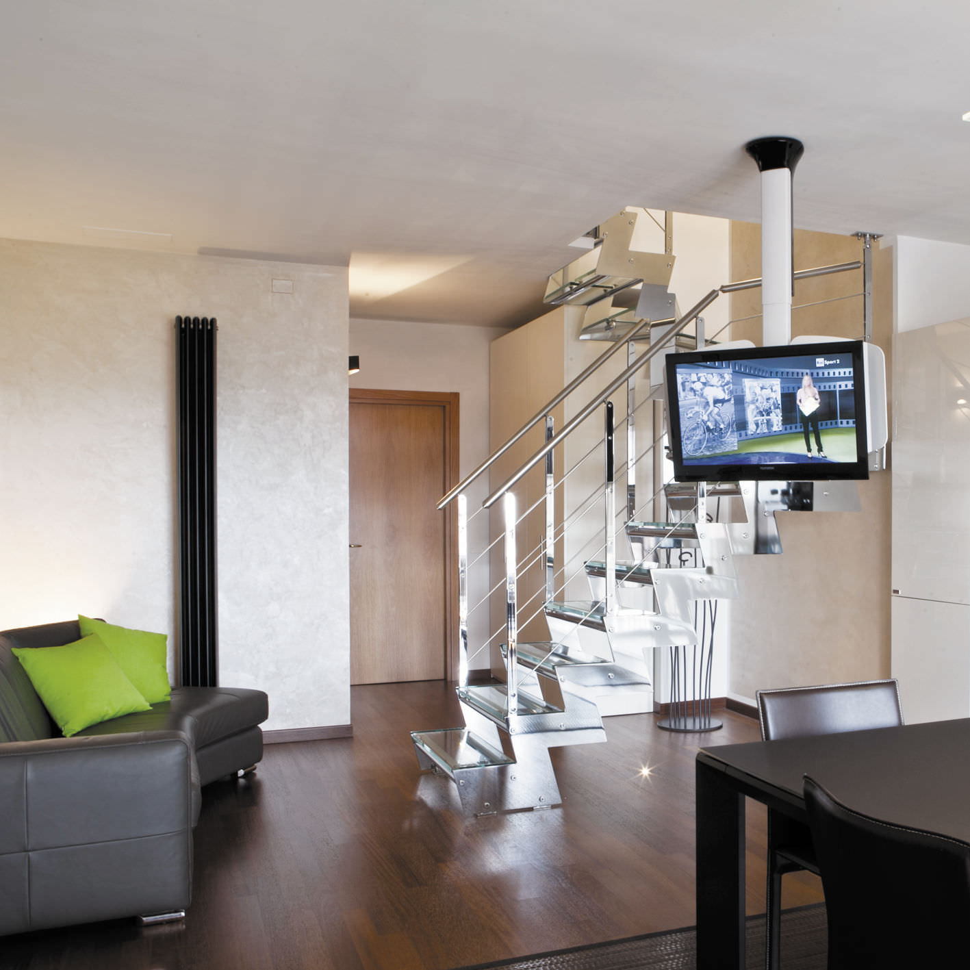 Support Tv De Plafond Contemporain T L Command Motoris Pour  # Support Tv Motorise Pour Meuble