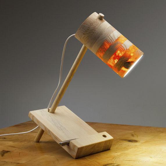 Lampe De Table Design Original En Bois Ananas Abadoc