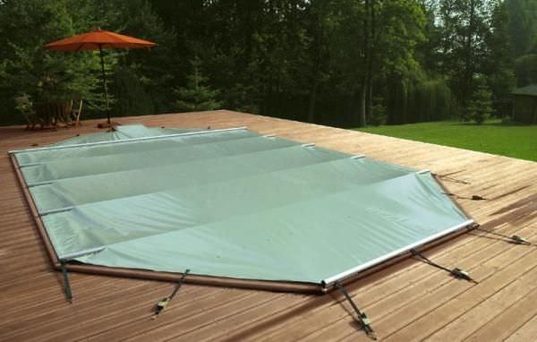bache piscine vert amande