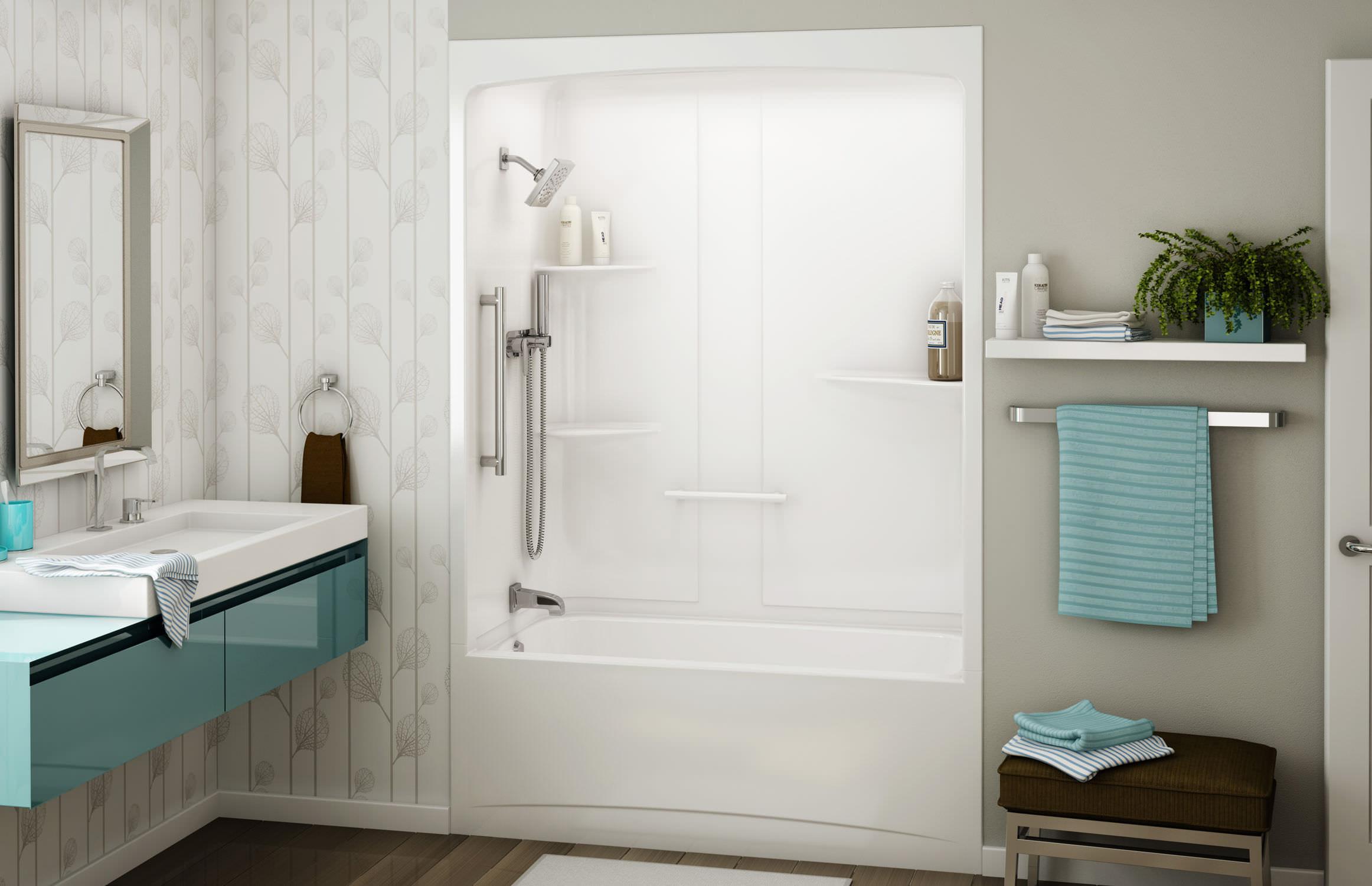 Baignoire douche encastrable / rectangulaire / en acrylique ...