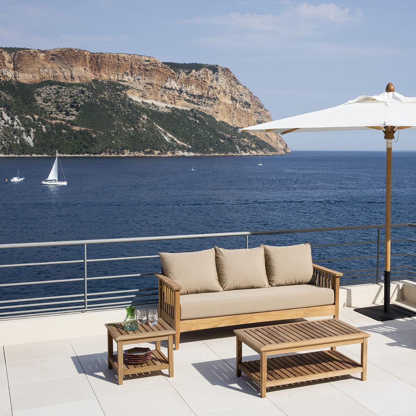 Canapé contemporain / de jardin / en Sunbrella® / en teck - GOA ...