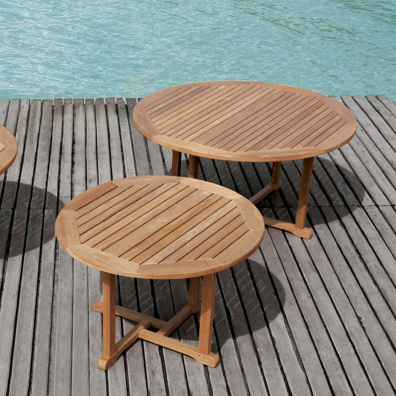 Table contemporaine en teck ronde de jardin BARKLEY Tectona