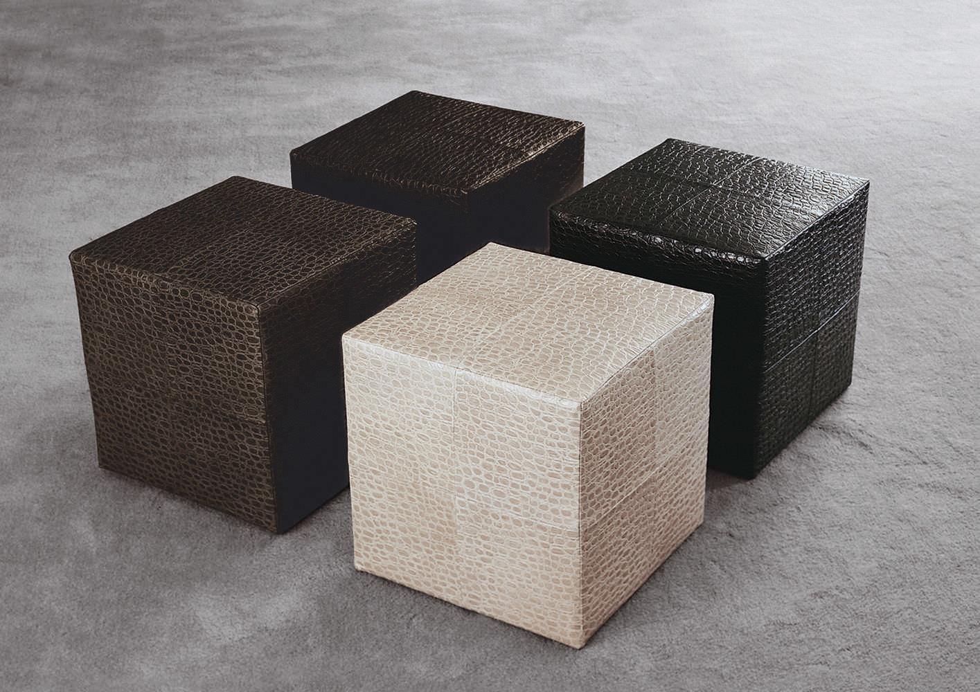 Pouf contemporain / en cuir / par Rodolfo Dordoni - VILLON - Minotti