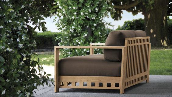 Canapé contemporain de jardin en bois 2 places SQUARE