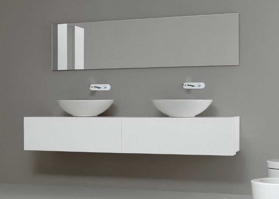 vasque poser ronde contemporaine avec miroir ajustable giulia - Doubles Vasques Design