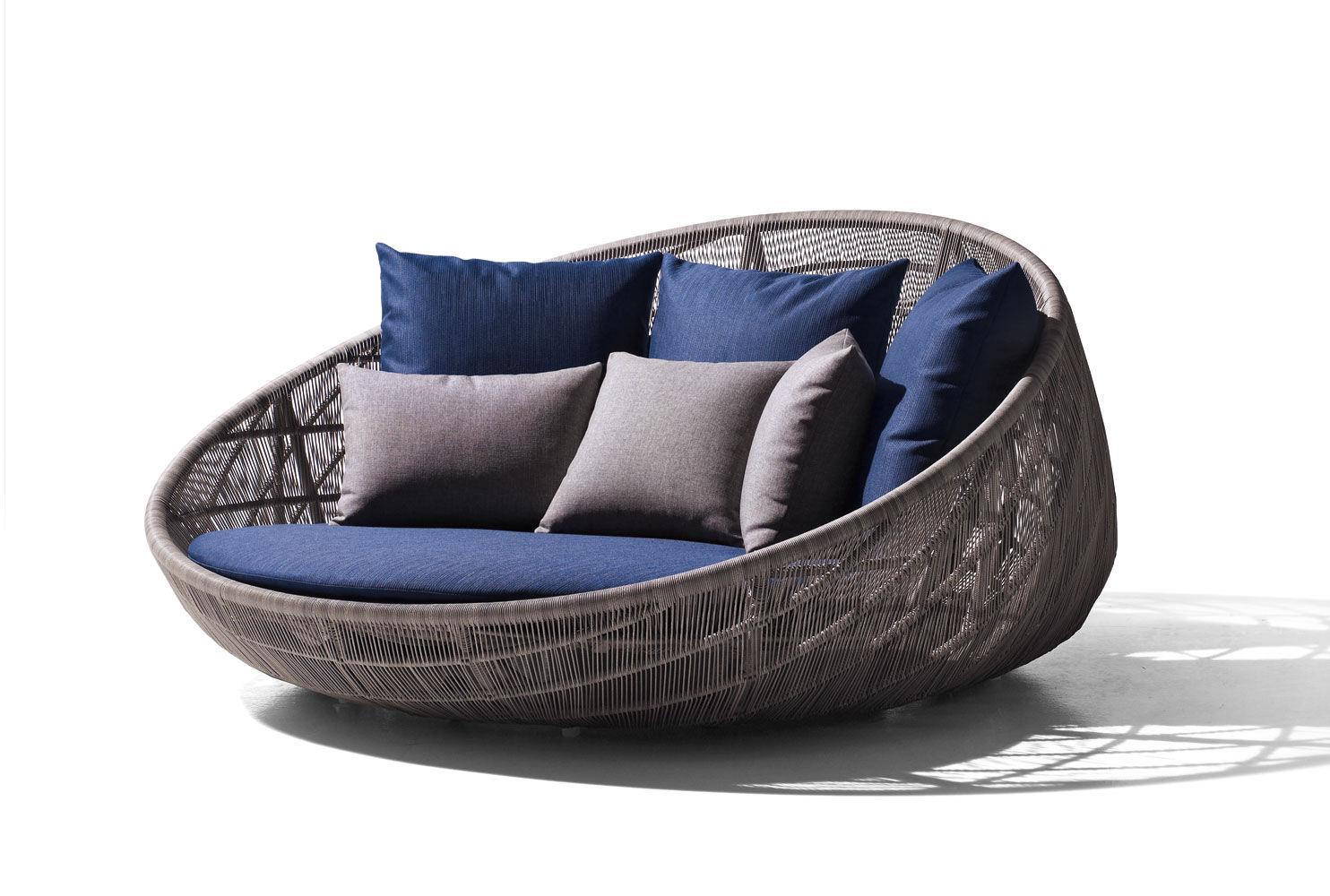 Canapé rond contemporain de jardin en fibres synthétiques
