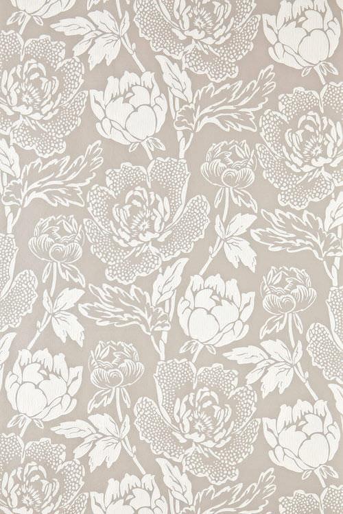 Papier Peint Classique / En Soie / à Motif Floral / Gris ...