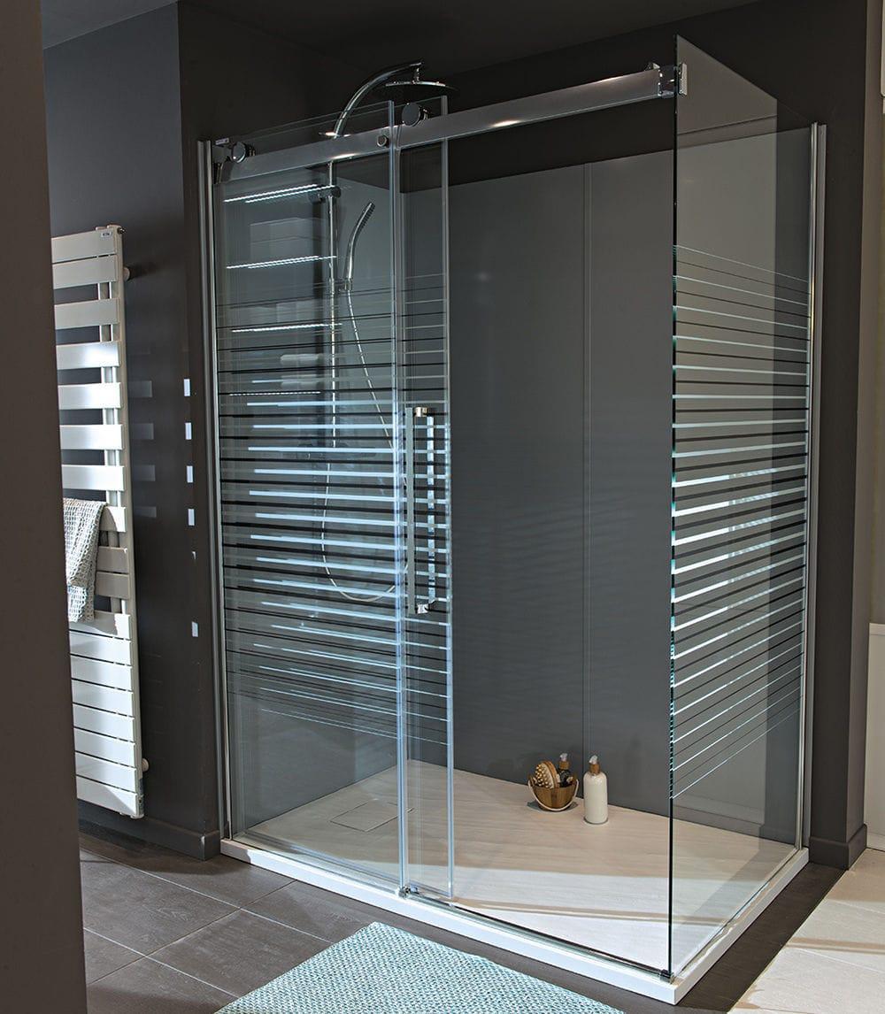 cabine de douche en verre rectangulaire avec porte coulissante grenade mobalpa. Black Bedroom Furniture Sets. Home Design Ideas