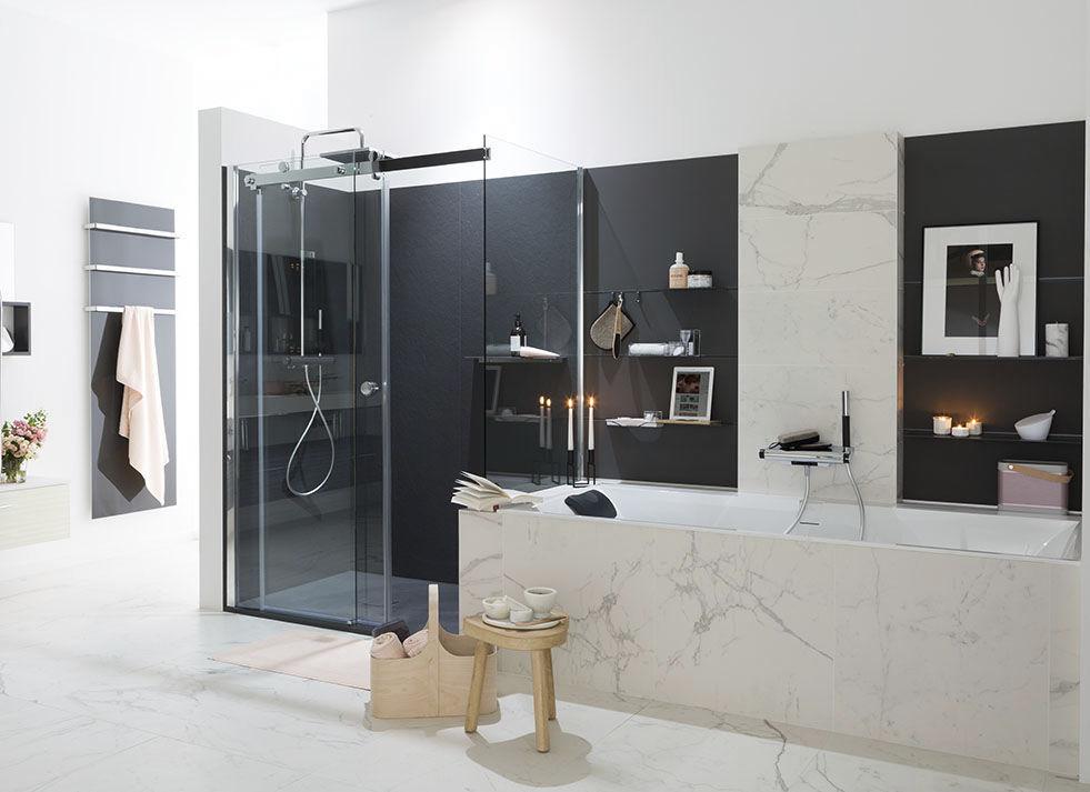 Salle de bain contemporaine / en bois laqué / en marbre - AMBIANCE ...