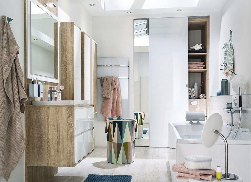 salle de bain contemporaine en chne laque ambiance scandinave