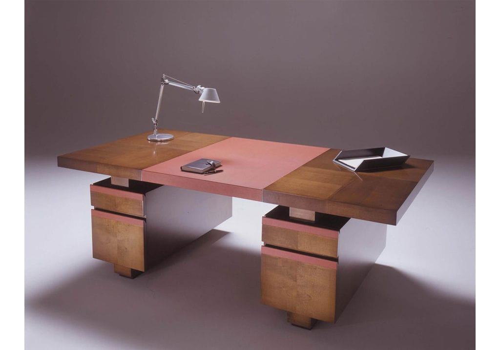 Bureau en bois en cuir contemporain avec rangement intégré
