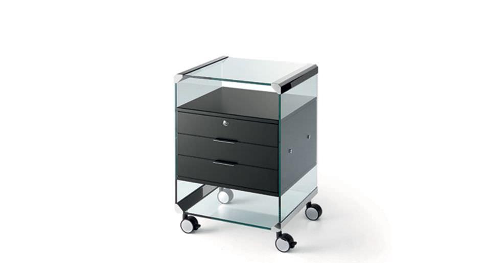 Caisson de bureau en verre à tiroirs à roulettes