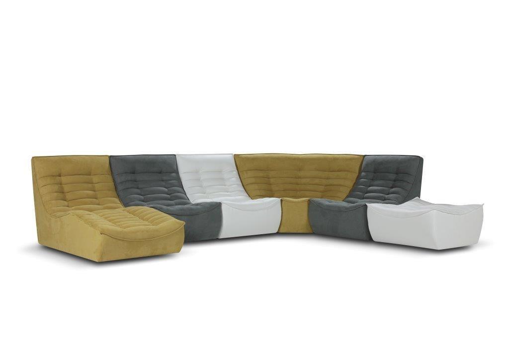 Canapé modulable design original en tissu 5 places FOX