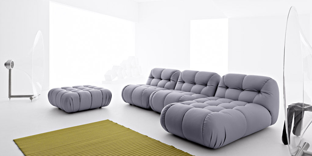 canap modulable contemporain en cuir 3 places nuvolone - Canape Confortable Design