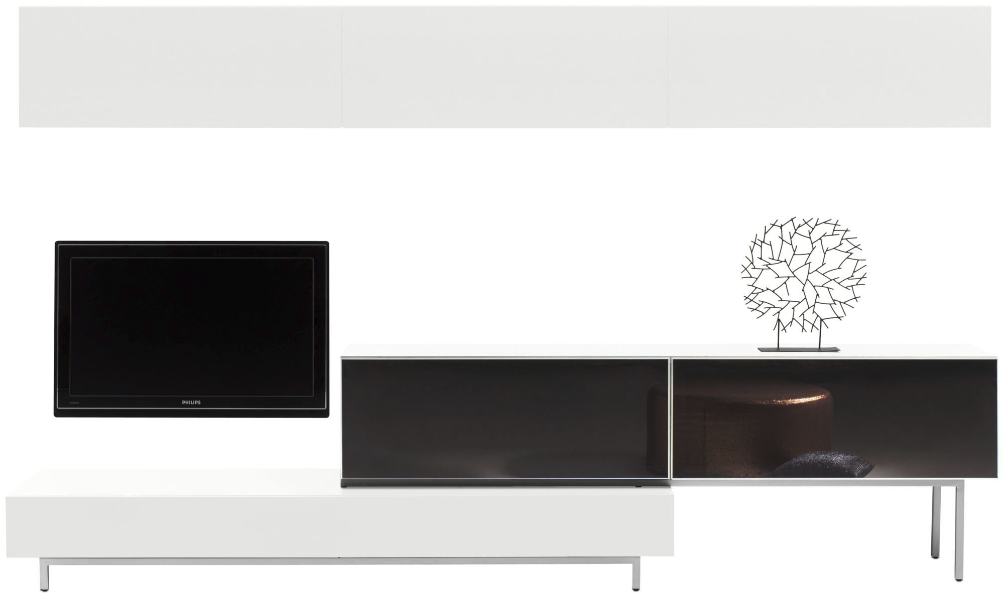 Meuble De T L Vision Contemporain En Bois En Verre En Acier  # Combinaison Murale Meuble Tv