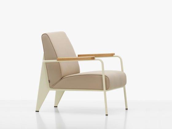fauteuil contemporain en tissu en cuir en bois massif fauteuil de salon vitra - Salon En Bois Massif Cuire