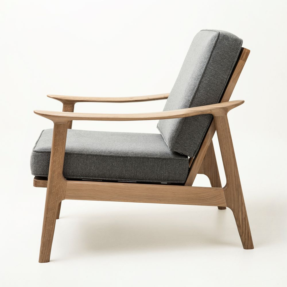 Fauteuil Design Scandinave En Tissu En Chêne En Bois Massif - Fauteuil design scandinave