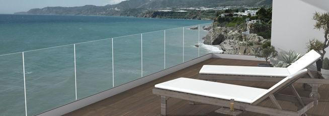 Garde-corps en verre / à barreaux / d\'extérieur / pour terrasse ...