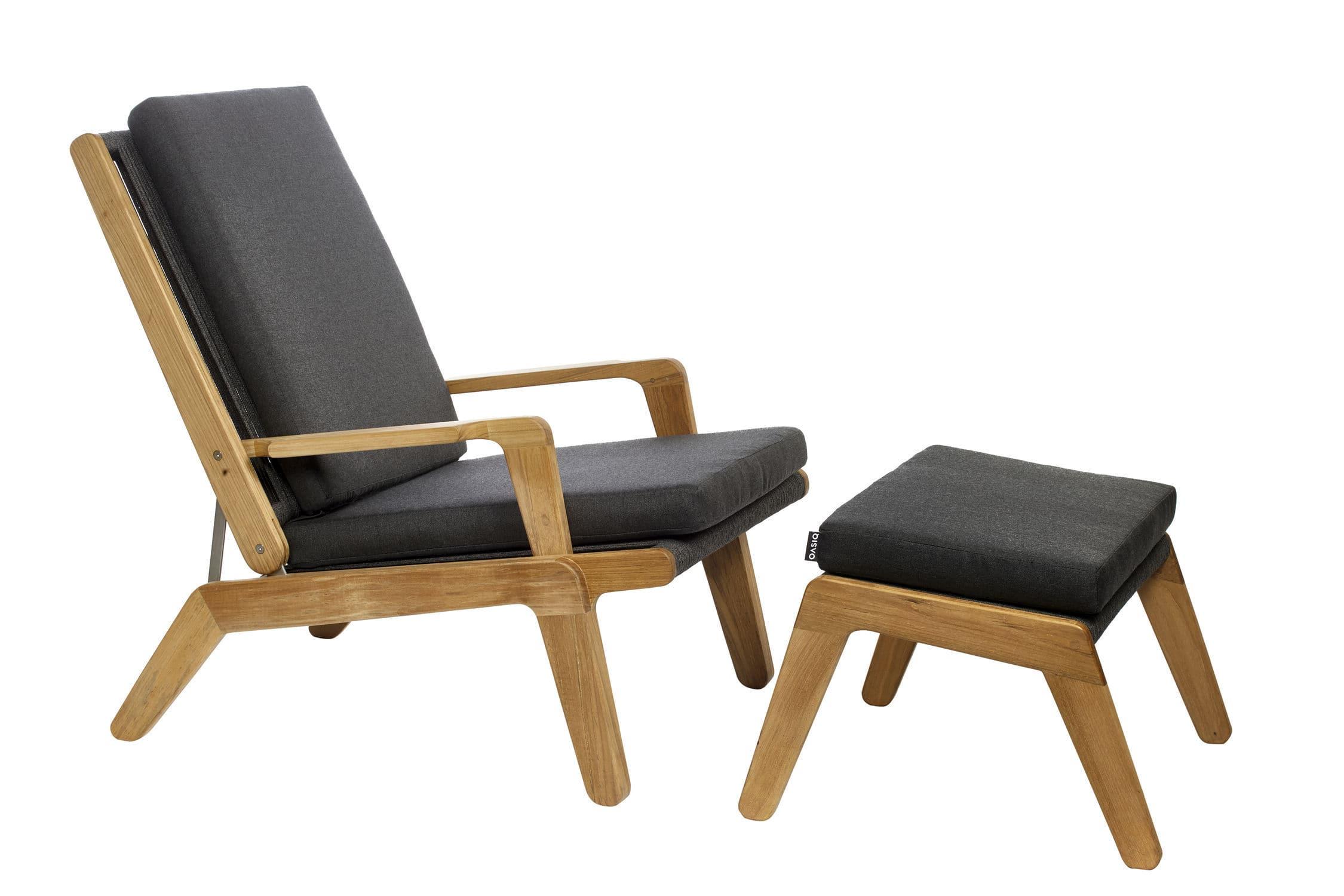 fauteuil design scandinave en teck avec repose pieds dossier inclinable - Fauteuil Scandinave Avec Repose Pied