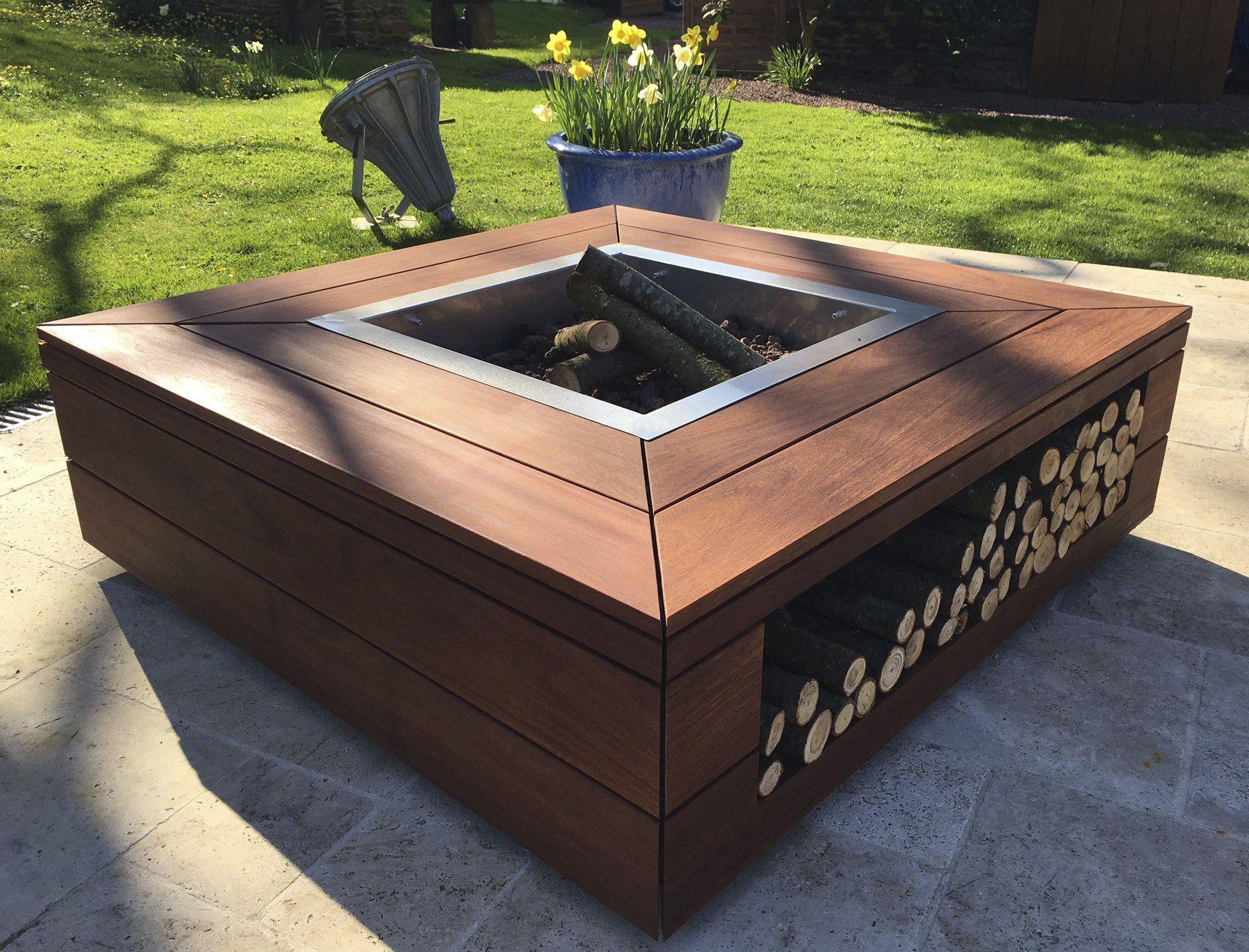 brasero de jardin à bois / à bioéthanol / en bois / avec barbecue