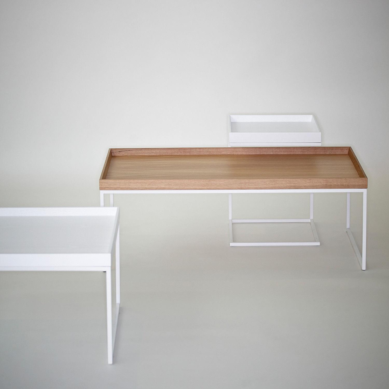 c562dd80369446 table basse contemporaine   en plaqué bois   en acier   rectangulaire -  PIZZO