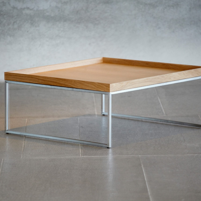 eef183b0dd30e1 ... table basse contemporaine   en plaqué bois   en acier   rectangulaire