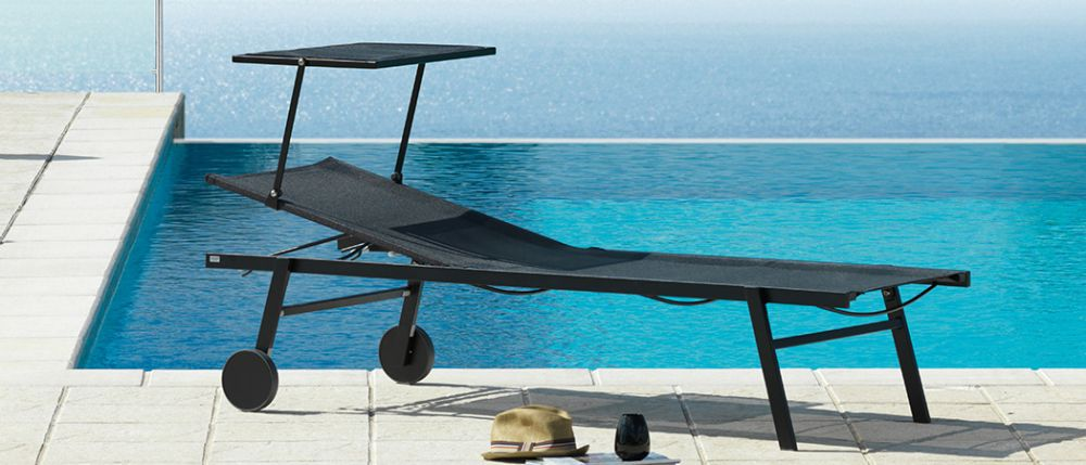 Chaise longue contemporaine / en tissu / en métal / de jardin ...