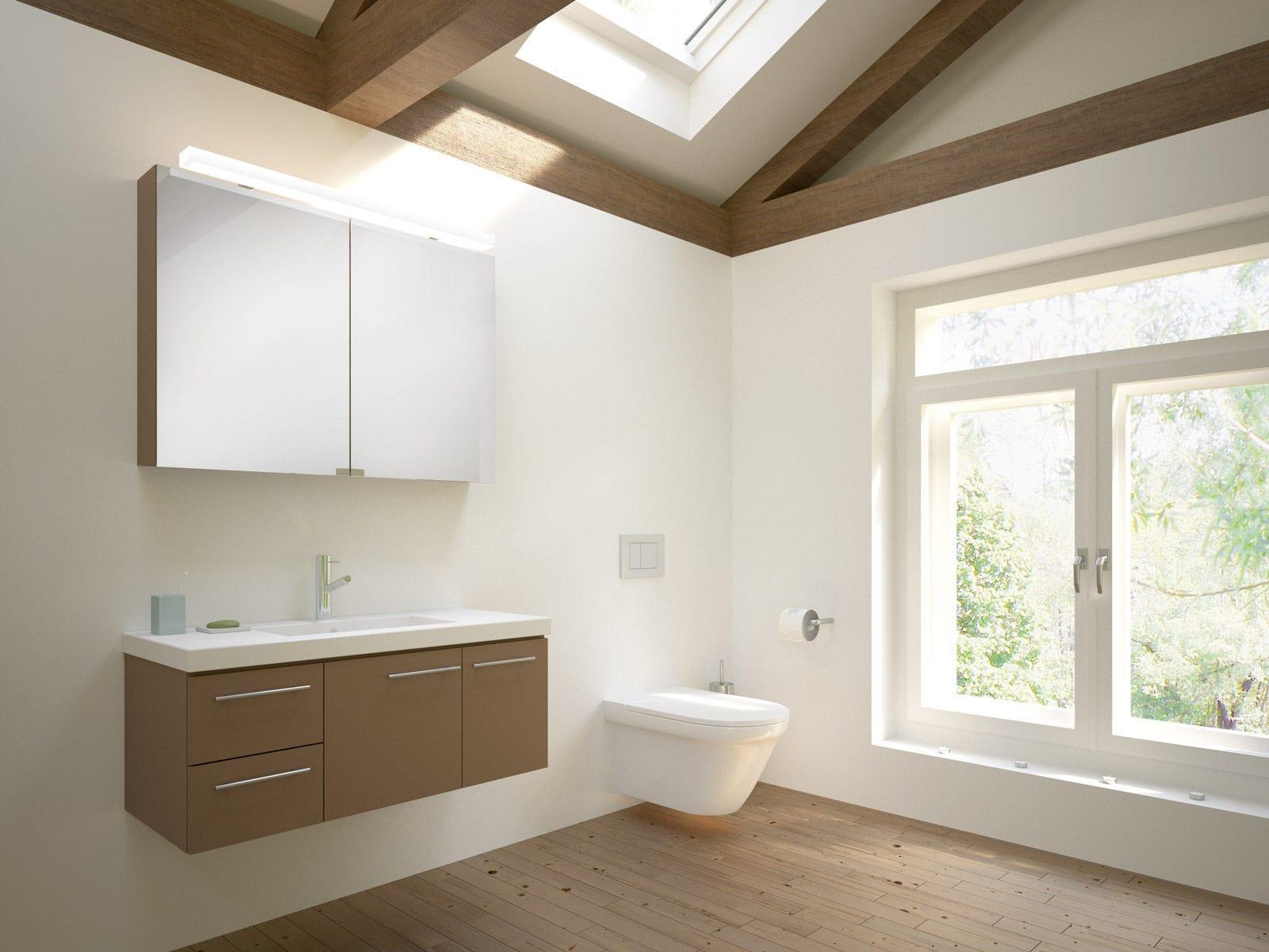 Meuble vasque suspendu / en bois / contemporain / avec miroir ...