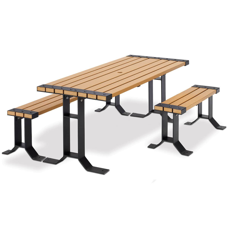 Ensemble table et bancs contemporain / en plastique recyclé / de ...