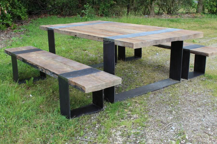 Ensemble Table Et Bancs Contemporain  En Bois  Extrieur  De