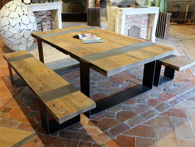 Ensemble table et bancs contemporain / en bois / extérieur / de ...