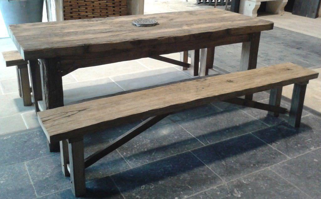 ensemble table et bancs contemporain / en bois / extérieur / de