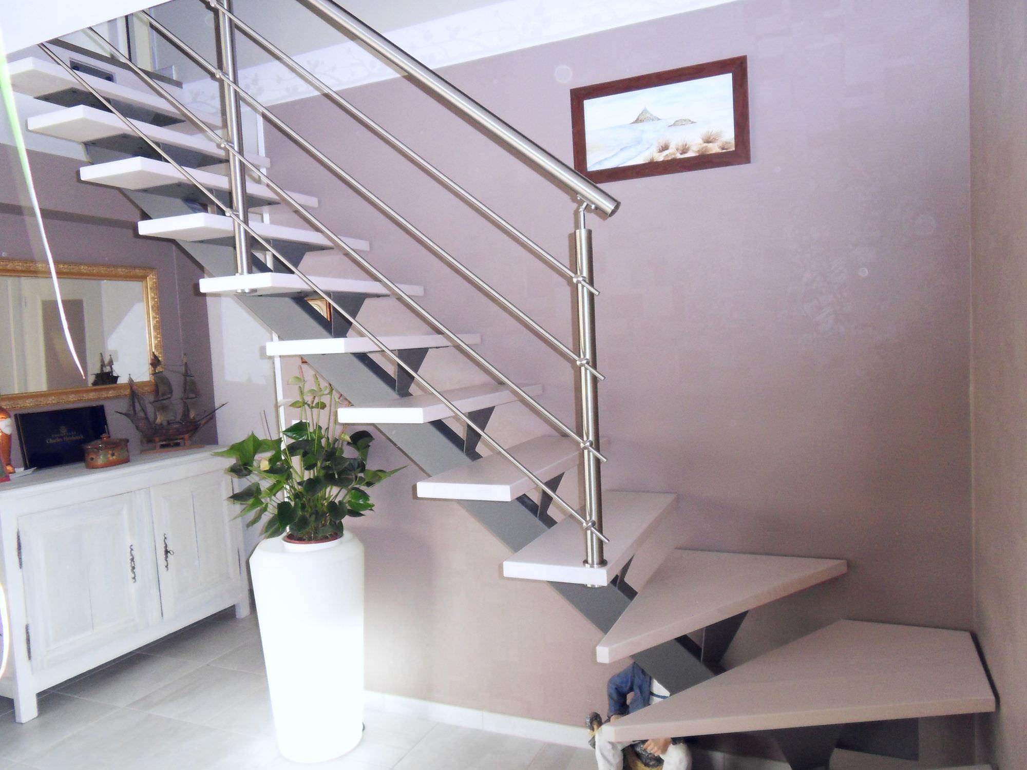 Escalier Quart Tournant Marche En Bois Structure En M Tal  ~ Escalier Bois Quart Tournant Gauche
