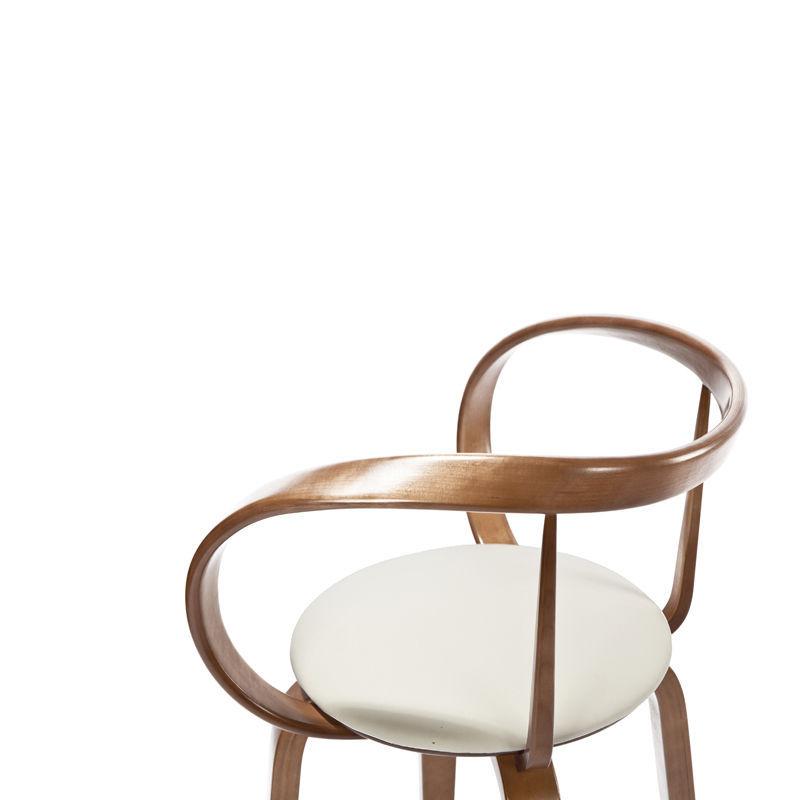 Chaise de bar contemporaine en bois en cuir APRIORI