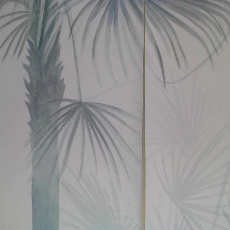 Papier Peint Contemporain A Motif Nature Fait Main Peint A La