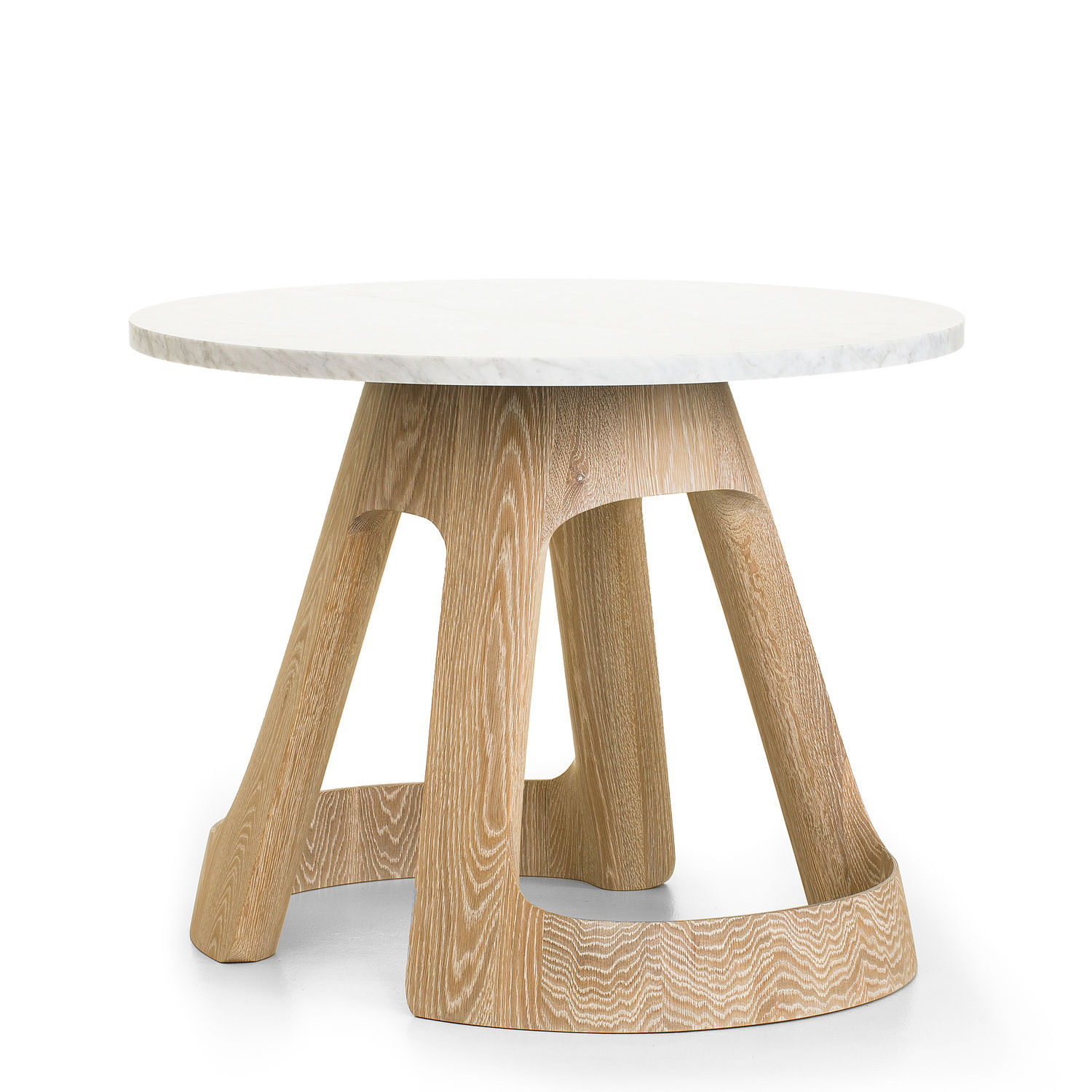 Table Contemporaine En Marbre En Chêne Blanc Ovale Polson