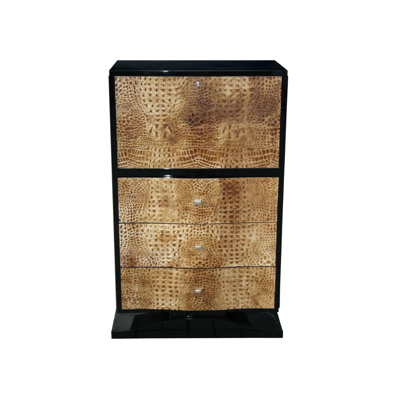 Meuble bar Art Déco en bois en cuir noir B012 Cygal Art