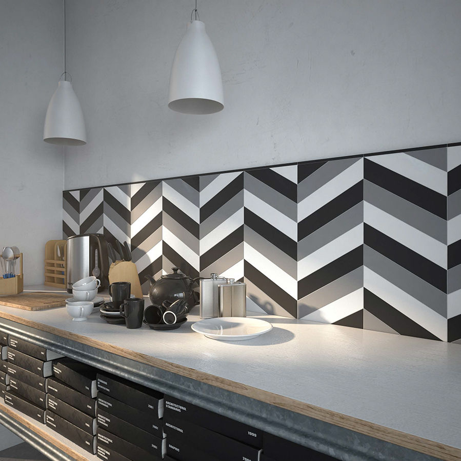Carrelage D Interieur Mural En Ceramique Brillant Chevron