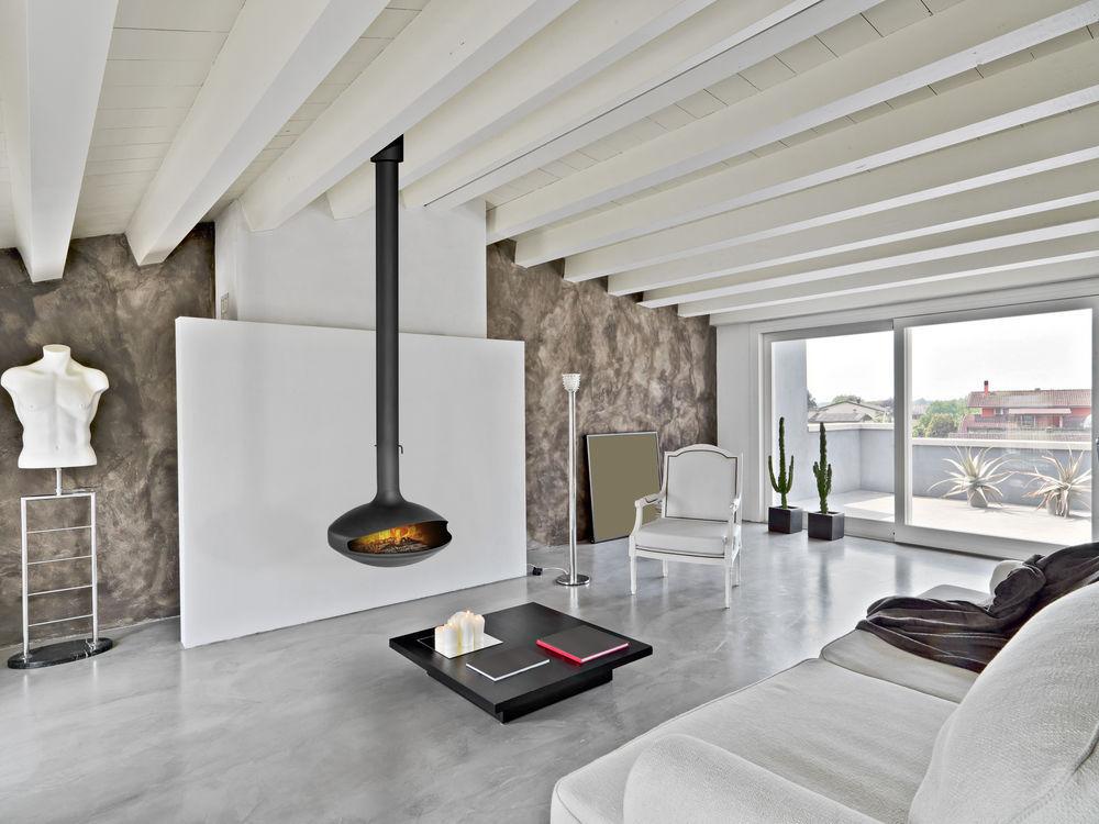 cheminee suspendue contemporaine foyer ouvert