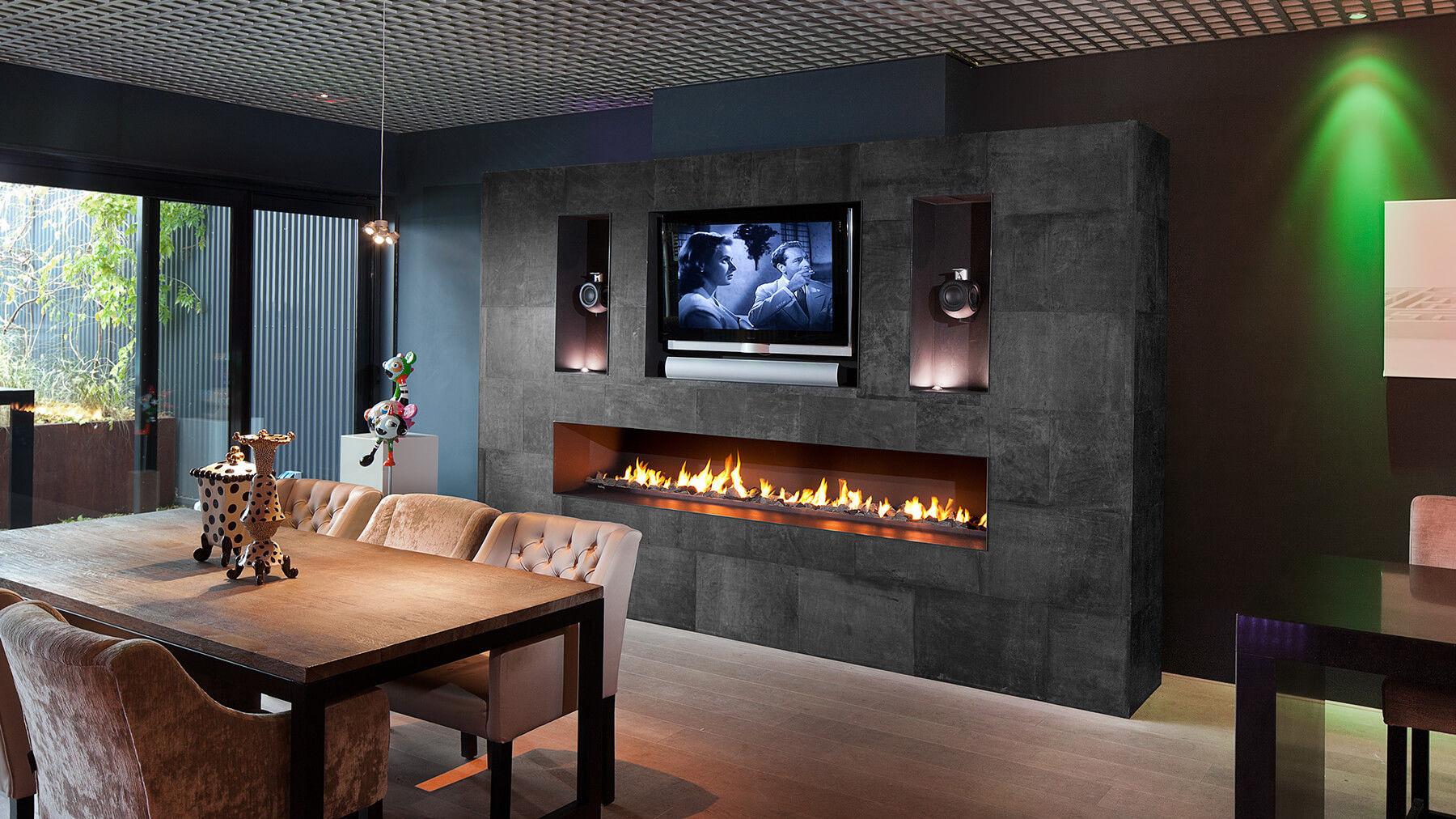Chemin E Au Bio Thanol Gaz Contemporaine Foyer Ouvert  # Mur Avec Foyer Et Tv