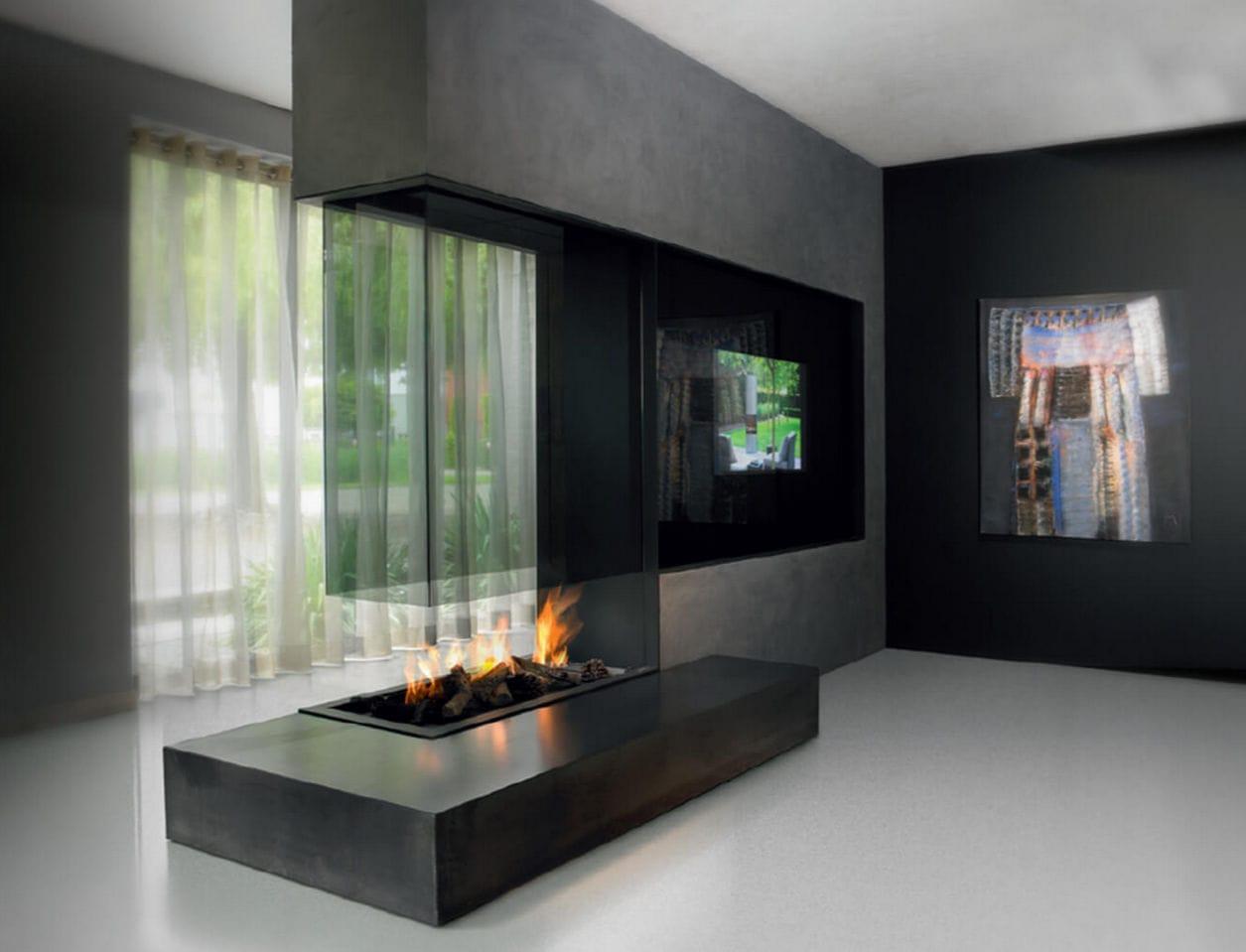 cheminée à gaz / contemporaine / à foyer ouvert / à 3 faces - 73